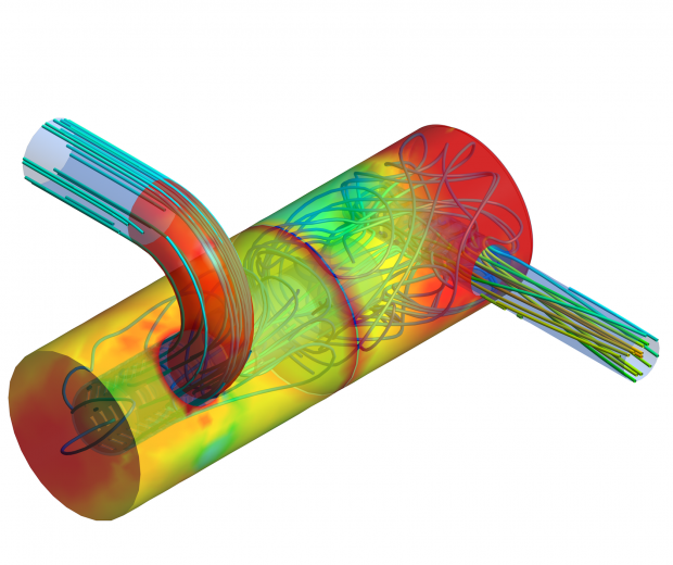CFD-Automotive-V8I2 - Flow Field Streamlines and Temperature Distribution